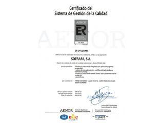 Sotrafa - Сертифікат якості ISO 9001
