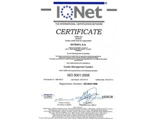 Sotrafa - IQNet Сертифікат