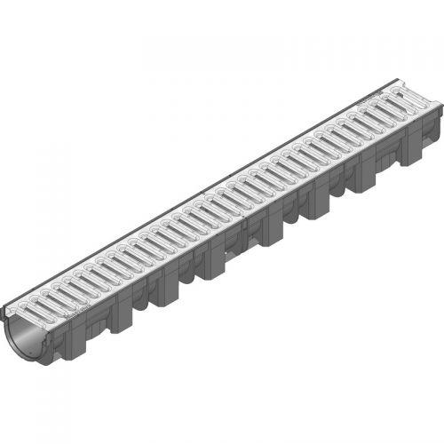 Пластиковый ливневой желоб Hauraton TOP X 119х89х1000 мм с оцинкованной щелевой решеткой (SW 9 мм)