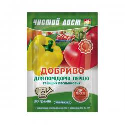 Минеральное удобрение «Чистый лист» для помидоров и перца 20 г